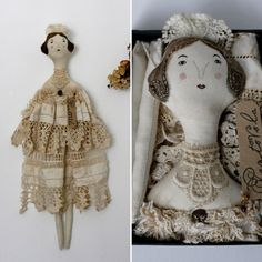 161 € Margaret  ooak textile art doll in box by pantovola on Etsy