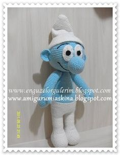 Amigurumi& Love: Amigurumi Cute Make-Amigurumi Smurf Free Pattern, Hello Kitty Amigurumi, Mini Amigurumi, Amigurumi Free, Amigurumi Toys, Crochet Dolls Free Patterns, Crochet Doll Pattern, Amigurumi Patterns, Crochet Toys, Love Knitting