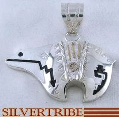 American Indian Jewelry Alonzo Mariano 12 Karat Gold Filled And Sterling Silver Bear Pendant