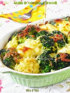 Gratin de conopida si broccoli ~ Culorile din farfurie Vegetable Recipes, Vegetarian Recipes, Cooking Recipes, Healthy Diet Tips, Healthy Recipes, Good Food, Yummy Food, Food Wishes, Baked Vegetables