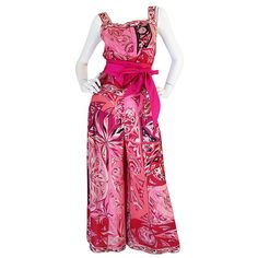 1960s Vivid Pink Silk Pucci Halter Top & Wide Pant Set   From a collection of rare vintage suits, outfits and ensembles at https://www.1stdibs.com/fashion/clothing/suits-outfits-ensembles/