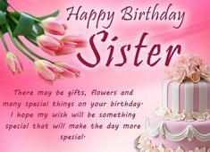 Sister Happy Birthday Quotes with Wishes - Happy Birthday Sister