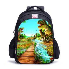 3D Zoo Animals School Bags for Boys Dinosaur Schoolbag Child Bookbag Kids Backpack mochilas escolar infantil 16 Inch