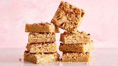 Blondies prove that pantry staples like flour, brown sugar, butter, and eggs can be spun into pure gold—and without a mixer, at that. Amp up their flavor with a touch of dark rum and a tumble of toasted pecans, and a new favorite is born.