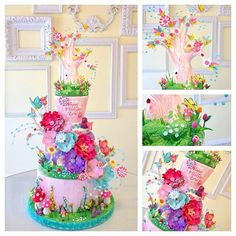 Whimsical Flowers & Mushrooms Birthday Cake