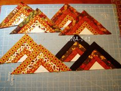 my autumn star spin block make four log cabin Template BG cut 8 pieces on fold fabric Log cabin square cut four it Patchwork Table Runner, Quilted Table Runners, Quilting Designs, Quilt Design, Quilting Ideas, Star Patterns, Quilt Patterns, Round Table Centerpieces, Seminole Patchwork