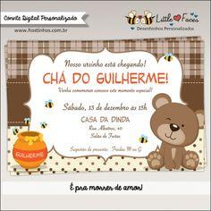 Convite Chá de Bebê Ursinho para Imprimir