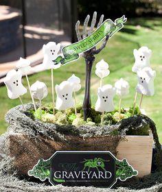"""Halloween DIY: """"Sweet Spirits"""" Ghostly Graveyard Treat Display {+ Free Printables}"""
