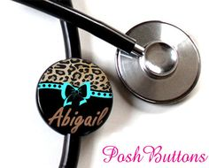 Cute! Stethoscope ID tag from Posh Buttons on Etsy- $7.50