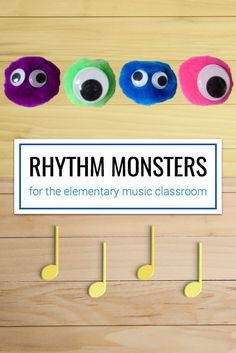 A cute idea for making rhythm monsters using puffballs and googly eyes. This would be great for elementary rhythm practice or as a fun end-of-year activity for the music classroom. Elementary Music Lessons, Music Lessons For Kids, Music For Kids, Piano Lessons, Elementary Schools, Elementary Teacher, Music Activities For Kids, Music Education Activities, Physical Education