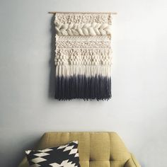 Woven Wall Hanging Ivory and Gray Weaving by UnrulyEdges on Etsy