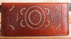 MARS dark brown leather womens wallet boho wallet unique vintage boho wallet handmade carved tooled beach by Astaboho on Etsy