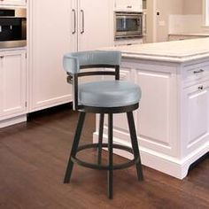 Taylor Gray Home Lincoln Metal Swivel Barstool in Gray Steel Faux Leather and Capuccino Finish (Bar Height - in.