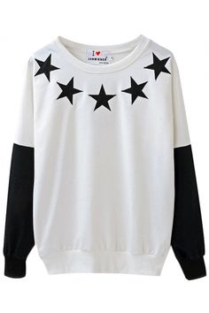 Color Block Star Print Round Neck Sweatshirt with Long Sleeve - Beautifulhalo.com