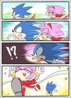 oh,too bad sonic. Amy is faster then you! Sonic The Hedgehog, Shadow The Hedgehog, Sonic Y Amy, Marvel Cross Stitch, Sonamy Comic, Sonic Underground, Sonic Unleashed, Sonic Funny, Sonic Franchise