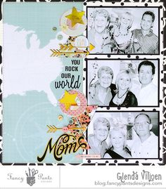 A layout celebrating my mom...she rocks our world! The layout was created using the May 2015 sketch by Jenny Evans and the Office Suite Collection.