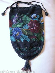 Antique Victorian Black Brown Floral Garden Crochet Micro Bead Drawstring Purse | eBay