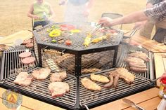 8 seat or 6 seat grill/fire pit with removable table pieces and removable grill parts.  Adjustable legs to accommodate uneven ground.  Made in the USA.