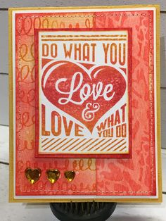 Sample card with photo tutorial for Tim Holtz Stampers Anonymous using Motivation 3 CMS291 Scribbles and Spirals CMS296 Heartstruck THS073 Layering Stencil Distress DIY Custom Ink Pad by playswellwithpaper