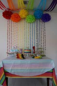 Rainbow party cake table love the backdrop Rainbow Parties, Rainbow Birthday Party, Rainbow Theme, Unicorn Birthday, Unicorn Party, 1st Birthday Parties, Birthday Table, Rainbow Art, Kunst Party