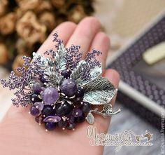 """Купить Брошь """"Лиловый цвет"""" - тёмно-фиолетовый, лиловый, аметистовый, сиреневый, аметист, брошь с аметистом"""