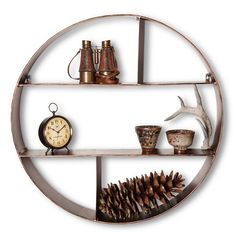 Threshold™ Metal Circle Shelf - Rubbed Bronze Finish Bohemian Living Spaces, Circle Shelf, Retro Home, New Room, Bronze Finish, Home Kitchens, Floating Shelves, Design Inspiration, It Is Finished