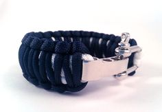 Paracord Survival Bracelet,King Cobra Navy Blue and White with adjustable Steel Buckle,hiking Bracelet,camping Bracelet,Survival gear by Outkitr on Etsy
