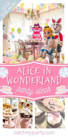Take a look at this delightful Alice in Wonderland birthday party! The See more party ideas and share yours at CatchMyParty.com #catchmyparty #partyideas #aliceinwonderland #aliceinwonderlandparty #teaparty #girlbirthdayparty Girls Birthday Party Themes, Tea Party Birthday, Girl Birthday, Alice In Wonderland Tea Party, Party Activities, Party Drinks, Party Cakes, Ideas Para, Party Supplies