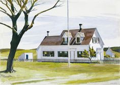 """Edward Hopper """"Dead Tree and Side of Lombard House"""""""