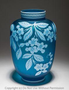 A Thomas Webb Cameo Glass Vase in Blue - Antique 19th Century Stourbridge