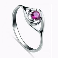 Rose Red Crystal 925 Sterling Silver Ring