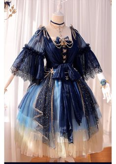 Fantasy Mirror -Under the Starry Sky- Vintage Classic Lolita OP Dress Fantasy Mirror – Unter dem Sternenhimmel – Klassisches Lolita OP-Kleid Mode Outfits, Dress Outfits, Fashion Dresses, Dress Up, Airport Outfits, Skirt Fashion, Pretty Outfits, Pretty Dresses, Beautiful Dresses