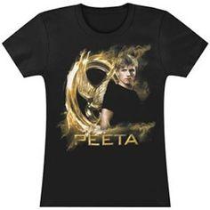 Hunger Games Gold Fire Peeta Juniors Tee Shirt