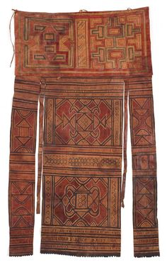 "Africa | Tuareg Tent hanging. Tuareg People, Morocco, Mali or Niger | Early 20th Century | Leather, painted and embossed. Exceptionally old and beautiful hanging, made from two different panels, painted with ""magic square"" designs."