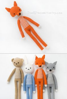 Crochet Fox Toy Woodland animal Soft cotton toy by SmallDreamers