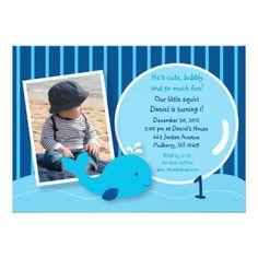 Nautical Whale Boys Photo Birthday Invitations