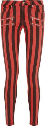 Embrace the bold stripes trend with these stretch denim skinny jeans from Paige! #15Things #trending #style #fashion #red #apparel #pants #jeans #denim #Paige #stripe #blackandred