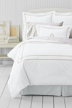 Tailored Hotel Percale Embroidered Diamond Duvet Cover or Sham from Lands' End