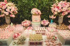 Decoração de festa de 15 anos -  tons de rosa e muro inglês   Sweet Fifteen + Blush and Pink, garden
