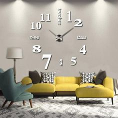 A fashion and creative wall clock which will make your living room more personalized and unique. Wall Clock DIY Wall Clock Decal Wall Clock Sticker Big Wall Clock Home Decor Home Design Wall Clockwall-stickers-wall-clock-modern-sticker DIY Home Decoratin Big Wall Clocks, Wall Clock Sticker, Mirror Wall Clock, 3d Mirror, Wall Stickers, Black Clocks, Frameless Mirror, Acrylic Mirror, Metal Mirror