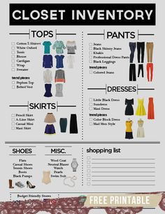 FREE Printable: How to Build a Wardrobe. I need this! And someone to tell me what to buy and how to put colors and styles together because I'm clueless with fashion