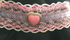 CathyRoseAndDaughter Pink and white lace lolita choker necklace. White Lace, Heart Ring, Chokers, Etsy Seller, Unique, Rings, Creative, Accessories, Jewelry