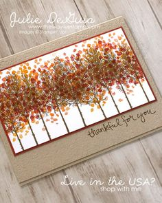 Winter Woods and Sheltering Tree by Stampin' Up! | Stamp It Group Halloween and Fall Blog Hop and Giveaway | Sponging | Ink Thumping | The Way We Stamp | Julie DeGuia Group Halloween, Halloween Cards, Fall Paper Crafts, Paper Crafting, Thanksgiving Cards, Holiday Cards, Christmas Cards, Paper Cards, Men's Cards