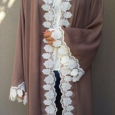 SS16 Linen Abaya with cotton lace
