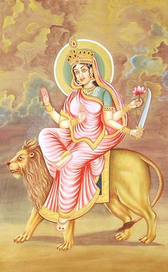 Mata Katyayani is worshiped on the the Sixth Day of Navratri. May the ever watchful Durga Devi Katyayani, who holds shining Chandrahasa (Sword) in Devi's hand and rides a magnificent lion and destroys the demons, bestow welfare on me. When Maa Parvati's Partial expansion took birth in Sage Katya's home and gets energy from trinity and demi Gods, then the Goddess was known as Maa Katyani