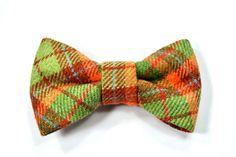 Men Kids Clip-On Bow Tie College green, brown and orange bowtie - Baby, toddler boys tie