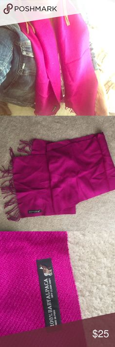 100% baby alpaca scarf Bright maroon color. Made in Peru. Beautiful scarf. Never worn. Accessories Scarves & Wraps