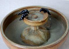 "Home Decor Fountain - Indoor Fountain - 12 Inch Diameter - ""Bathing Ravens"""