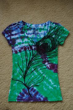 tie dye peacock feather shirt by enjoyyourjourney on Etsy--I need to try and make this!