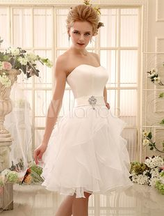 Sweet Ivory A-line Knee-Length Strapless Bridal Wedding Gown with Rhinestone-No.5